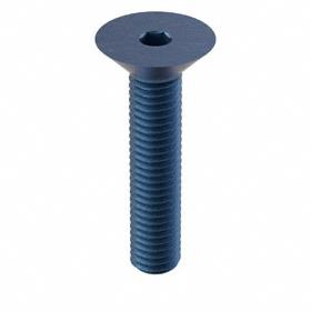 Flat Head Socket Cap Screw: Blue Phosphate, Alloy Steel, M8 Thread Size, 1.25 mm Thread Pitch, 40 mm Shank Lg, 10 PK