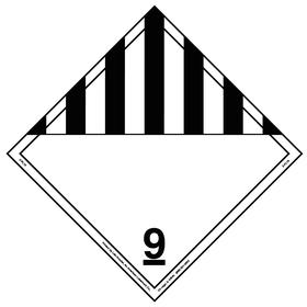 DOT Vehicle Placard: 9 Message, 10 3/4 in Overall Ht, 14 1/3 in Overall Wd, Vinyl, Black/White, 9 Dangerous Goods Class