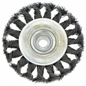 Deburring Wheel Brush: Knotted - Std Twist, Threaded Arbor, Steel, 4 in Brush Dia, M10 Center Hole Thread Size, 0.02 in Bristle Dia, 7/8 in Bristle Lg