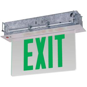 Heavy Duty Metal Lighted Exit Sign: 2 Faces, Directional Indicators, Green, 10 3/8 in Overall Ht, 12 3/4 in Overall Lg, Clear
