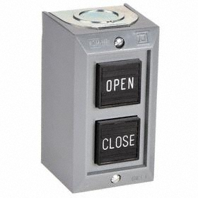 Schneider Electric Indoor Push Button Station: Momentary, Open-Close, Black/Red, 2.06 in Overall Wd, 2.19 in Overall Ht