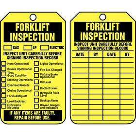 Inspection Tag: Forklift Inspection, 5 3/4 in Overall Ht, 3 1/4 in Overall Wd, Rigid Plastic, 25 PK