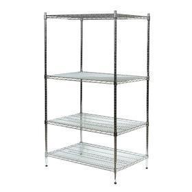 Wire Shelving Unit: Starter, Chrome Plated, 4 Shelves, 600 lb Max Shelf Capacity, 74 in Ht, 72 in Wd, 36 in Dp