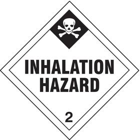 DOT Hazardous Material Label: Inhalation Hazard 2, 4 in Label Ht, 4 in Label Wd, Paper, 100 PK