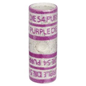 Short Barrel Splice: Short Barrel Size, Copper, For 4/0 AWG Max Wire Size, 0.7 in Barrel OD, Tin, Purple Color, 54 Die