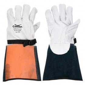 Electrical-Insulating Glove: Goatskin, ASTM F696, 9 Size, Cream/Green/Orange, Cream/Orange/Green, Strap with Snap, 1 PR