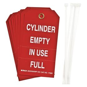 Brady Inspection Tag: 5 3/4 in Overall Ht, 3 in Overall Wd, Polyester, Cylinder Empty in Use Full, Metal, English, 10 PK