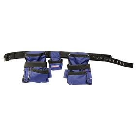 Tool Belt with Pouches: Nylon Webbed, Polyester, 13 Pockets, One Size Fits All Waist Size, (2) Metal Hammer Loops