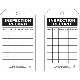 Brady Inspection Tag: Inspection Record, 5 3/4 in Overall Ht, 3 in Overall Wd, Polyester, 10 PK
