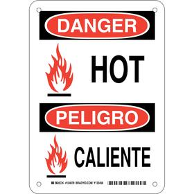 Brady Hot Temperature Sign: Danger/Peligro, 10 in Overall Ht, 7 in Overall Wd, Aluminum, English/Spanish, Mounting Holes