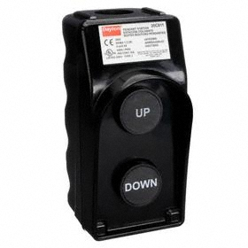 Pendant Push Button Station: Momentary, Up-Down, Black, 2.19 in Overall Wd, 4.62 in Overall Ht, 2.98 in Overall Dp