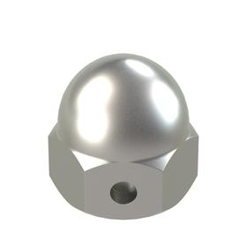 Self-Locking Acorn Nut: 18-8 Stainless Steel, 6-32 Thread Size, 5/32 in Thread Dp, 11/32 in Overall Ht, 20 PK