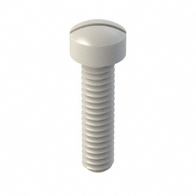"Cheese Head Machine Screw: Nylon, Slotted, 1/4""-20 Thread Size, 1 in Shank Lg, 50 PK"