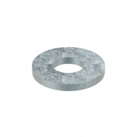 SAE Flat Washer: Steel, Zinc Plated, Low Carbon Material Grade, For No. 8 Screw Size, 0.188 in ID, 0.437 in OD, 100 PK