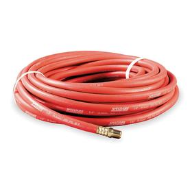Air Hose Assembly: 3/8 in Hose ID, 50 ft Overall Lg, 250 psi Max Op Pressure, 3/8 in Fitting Size, NPT, Male, Red