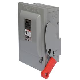 Siemens Heavy Duty Safety Disconnect Switch: Three Phase, 3 Poles, 100 A @ 600V AC Switch Rating, Outdoor, Galvanized