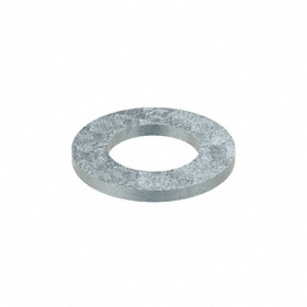 Flat Washer: Steel, Zinc Plated, 140HV Material Grade, For M20 Screw Size, 21 mm ID, 37 mm OD, 3.000 mm Thickness, 10 PK