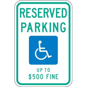 Lyle Accessible Parking Sign: 18 in Overall Ht, 12 in Overall Wd, Aluminum, High Intensity, Blue/White, Text & Graphic, ADA Compliant
