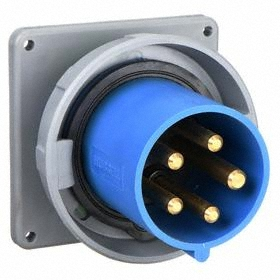 Hubbell IEC Non-Metallic Watertight Pin & Sleeve Male Receptacle: Three Phase, 5 Contacts, 60 Hz Volt Freq, 60 A Current, 4 Poles