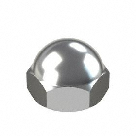 "Standard Crown Acorn Nut: Brass, Chrome Plated, 3/8""-16 Thread Size, 5/16 in Thread Dp, 1/2 in Overall Ht, 10 PK"