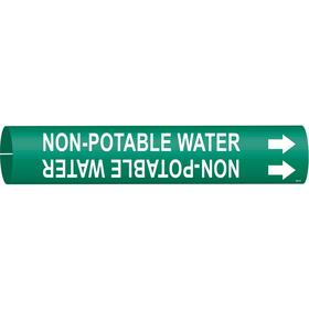 Brady Snap-On Pipe Marker: Non-Potable Water, White, Green, 2 13/16 in Label Ht, 2 13/16 in Label Wd, 4 in Min Pipe OD