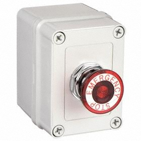 Emergency Stop Push Button Station: Maintained, Red, 3.66 in Overall Wd, 4.36 in Overall Ht, 3.18 in Overall Dp, 1NC Pole-Throw Configuration, Round