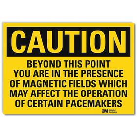 Lyle Radiation Sign: 10 in Overall Ht, 14 in Overall Wd, Vinyl, Self-Adhesive, Caution, Text, Safety Information, Yellow