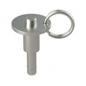 Quick-Release Ring Pin: Push Button, 17-4 Stainless Steel, 1/4 in Shank Dia, 1/2 in Usable Lg, 1 43/64 in Overall Lg