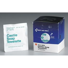 First Aid Only Castile Soap Towelette: Wipe, Coconut Oil Based 2%, 3.2 g Container Size, Off-White, Pouch, 10 PK