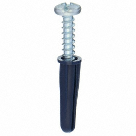 Conical Wall Plug Anchor: For Hollow Wall/Solid Wall, Plastic, For No. 10 Screw Size, 1/4 in Shank Dia, 1 in Shank Lg