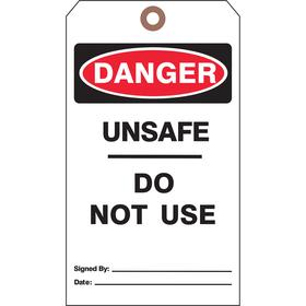 See All Machine & Equipment Safety Tag: 7 in Overall Ht, 4 in Overall Wd, Cardstock, (25) Strings, Danger, 25 PK