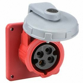 Hubbell IEC Non-Metallic Watertight Pin & Sleeve Female Receptacle: Three Phase, 4 Contacts, 60 Hz Volt Freq, 20 A Current, Nylon