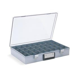 Compartment Box: 8 to 32 Compartments, 24 Dividers, Opaque, 3 in Overall Ht, 18 1/2 in Overall Wd, 13 in Overall Dp