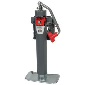 Leveling Trailer Jack with Base Plate: Side-Mount, Weld-On Plate, Top, 5000 lb Max Load Capacity, 10 in Max Lift