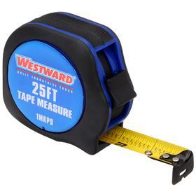 Tape Measure: Blue Case, 25 ft Tape Lg, 1 in Tape Wd, Plastic Case, Nylon