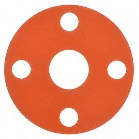 Full-Faced Flange Gasket: Silicone, Red, -80° F Min Op Temp, 450° F Max Op Temp, 2 1/2 in Compatible Pipe Size, 7 in OD