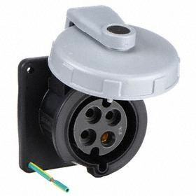 Hubbell IEC Non-Metallic Watertight Pin & Sleeve Female Receptacle: Three Phase, 4 Contacts, 60 Hz Volt Freq, 30 A Current