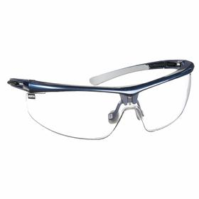 Honeywell Safety Glasses: Clear, Half Frame, Anti-Fog/Anti-Static/Scratch Resistant, Blue, Nose Bridge/Temple