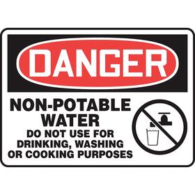 Accuform Food & Water Sanitation Sign: 10 in Overall Ht, 14 in Overall Wd, Vinyl, Self-Adhesive, English, Danger, White