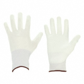 Glove: Polyester, M Size, Fully Covered Fingers, 100 Federal 209E Clean Room Class, 5 ISO Clean Room Class, White, 10 PK