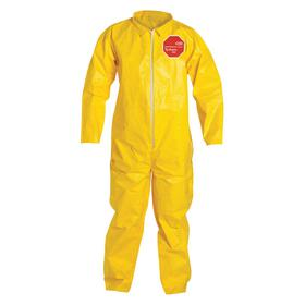 DuPont Collared Coverall: Tychem QC, Yellow, Zipper, Laydown Collar , 38.75 Max Chest, 28 in Inseam Lg, 12 PK