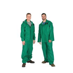 Flame-Retardant Rain Bib Overall: PVC, Green, Snap, Men, 0 Pockets, S Size, ASTM D6413, California Prop65 Org, Polyester