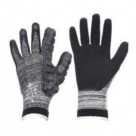 Work Glove: Coated Fabric Glove, XL Size, Left Hand Reinforced for Right Handed Users, Knit Cuff, Cotton Blend, 1 PR