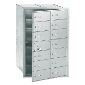 Standard Mailbox: Recessed Mount, Front Door, Locking/Wall Mounted, Vertical, 40 3/4 in Ht, 29 1/4 in Wd, 16 1/2 in Dp