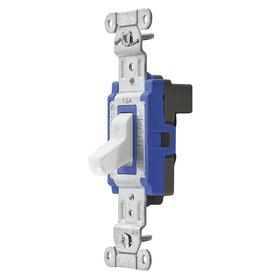 Hubbell Wiring Device-Kellems Toggle Light Wall Switch: 3-Way, White Actuator, Commercial Grade, 120 to 277V AC