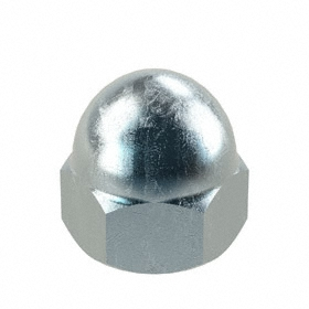 "Low Crown Acorn Nut: Steel, Zinc Plated, 1/2""-13 Thread Size, 1/2 in Thread Dp, 3/4 in Wd, 3 PK"