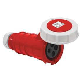 Hubbell Pin & Sleeve Connector: 4 Pins, Three Phase, 20 A Current, 480V AC, 3 Poles, Nylon, Red Color, Brass, Socket