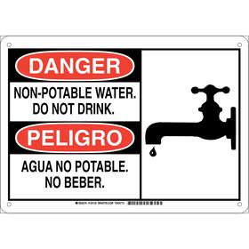 Brady Water Sanitation Sign: Danger/Peligro, 10 in Overall Ht, 14 in Overall Wd, Aluminum, English/Spanish