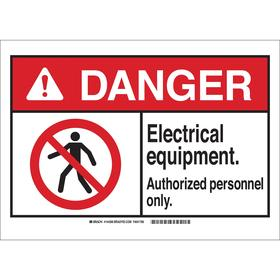 Brady Machine Safety Sign: 3 1/2 in Overall Ht, 5 in Overall Wd, Polyester, Self-Adhesive, Danger, English, Text & Graphic