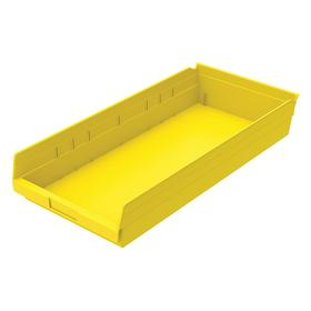 Shelf Bin: Plastic, 4 in Overall Ht, 11 1/8 in Overall Wd, 23 5/8 in Overall Dp, 20 lb Max Load Capacity, Yellow, 6 PK